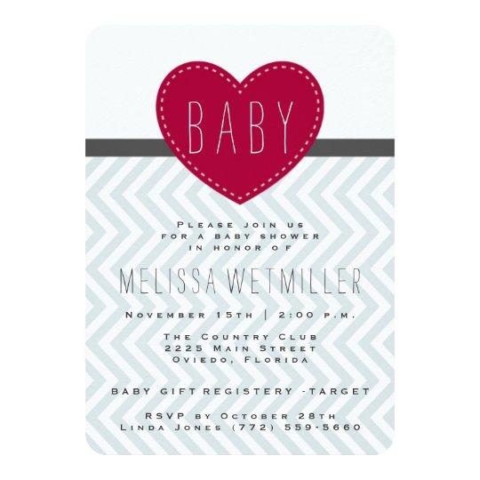 Baby Shower Invite | Modern Chevron Heart