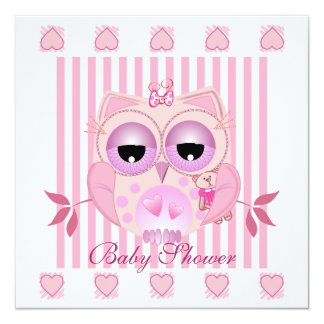 Baby shower Invite with cute babygirl Owl
