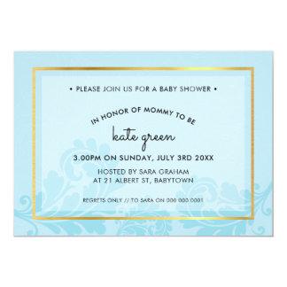 BABY SHOWER INVITES cute flourish pale blue gold