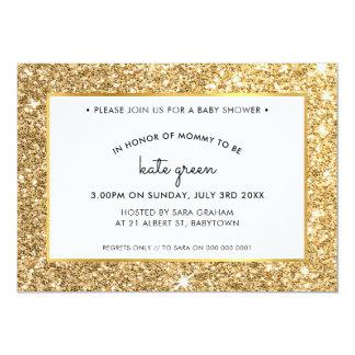 BABY SHOWER INVITES glamorous gold glitter