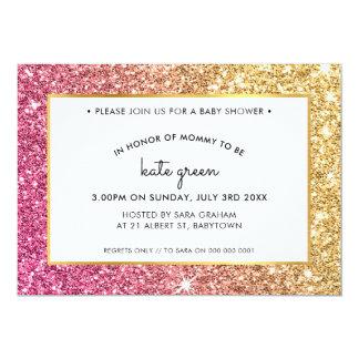 BABY SHOWER INVITES glamorous gold pink glitter