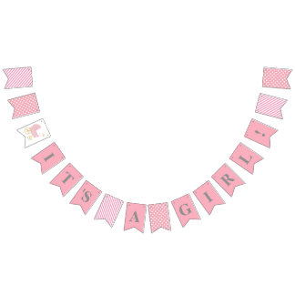 Baby Shower It's A Girl Party Banner Bunting Flags