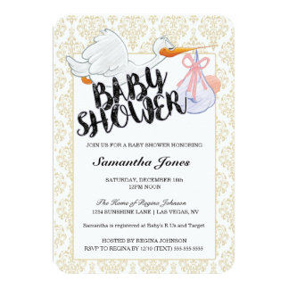Baby Shower It's a Girl Stork Carrying Baby Girl Card