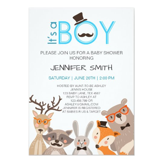Baby Shower it's boy Invitation woodland Blue