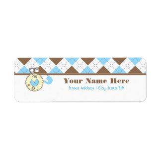 Baby Shower Label - Blue Diaper Pink & Argyle Return Address Label