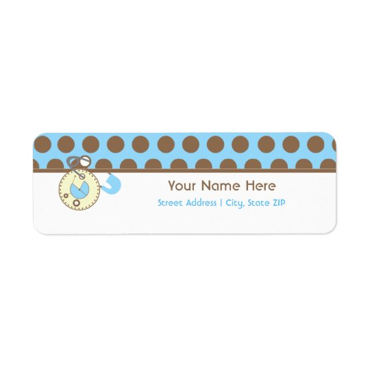 Baby Shower Label - Blue Diaper Pink & Polka Dots