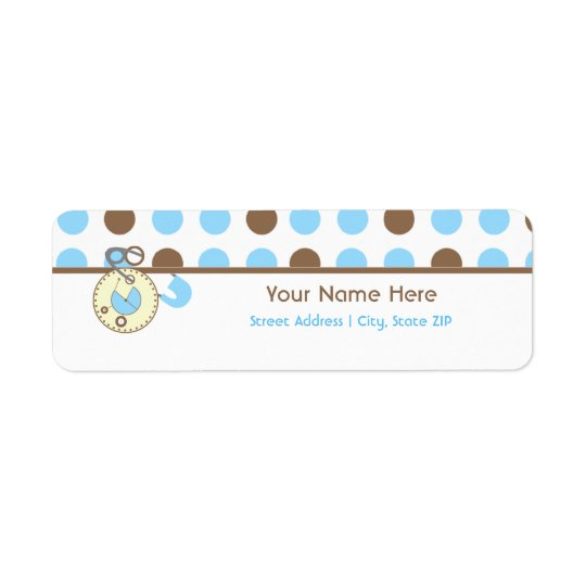 Baby Shower Label - Blue Diaper Pink & Polka Dots Return Address Label