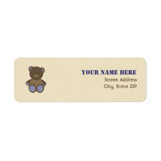Baby Shower Label - Blue Gingham Stuffed Bear Return Address Label