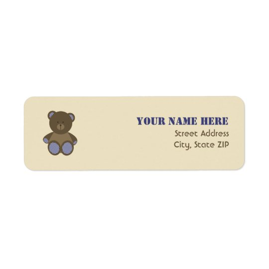 Baby Shower Label - Blue Gingham Stuffed Bear Return Address Label