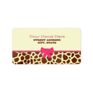 Baby Shower Label - Giraffe Print & Pink