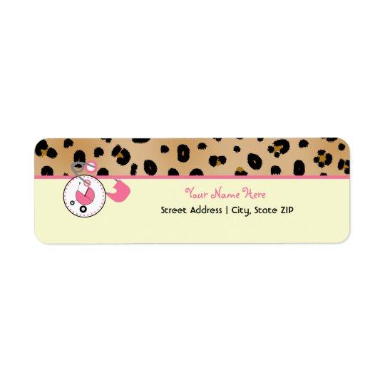 Baby Shower Label - Leopard Print & Diaper Pin