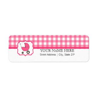 Baby Shower Label - Pink Gingham &  Hot Pink Return Address Label
