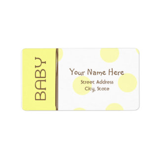 Baby Shower Label - Yellow and Brown Address Label