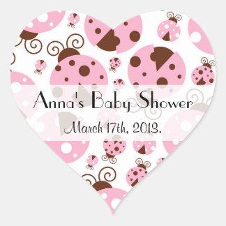 Baby Shower - Ladybugs, Ladybirds - Pink Brown Heart Sticker