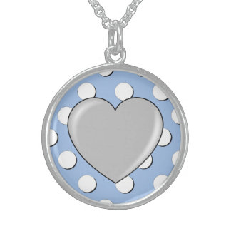 Baby Shower large Polka Dot with Heart in Blue Pendants