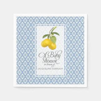 Baby Shower Lemon Citrus Blue White Pattern Art Paper Napkins