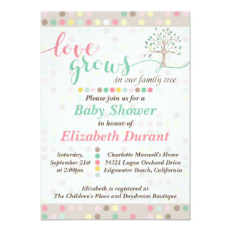 Baby Shower Love Grows In Our Family Tree Pastel 13 Cm X 18 Cm Invitation Card