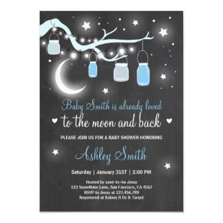 Baby Shower Love You to the Moon and Back Blue Boy 13 Cm X 18 Cm Invitation Card
