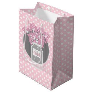 Baby Shower Mason Jar (pink) Medium Gift Bag