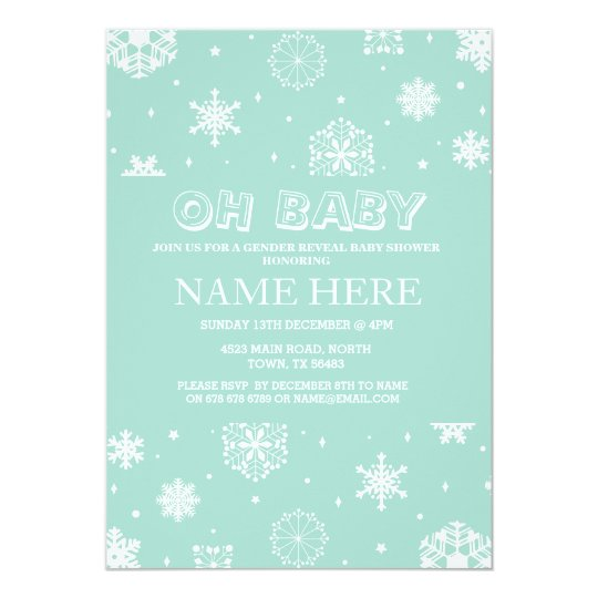 Baby Shower Mint Gender Reveal Snowflake Invite