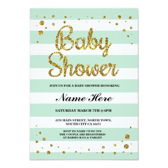 Baby Shower Mint Stripe Gold Glitter Girl Invite