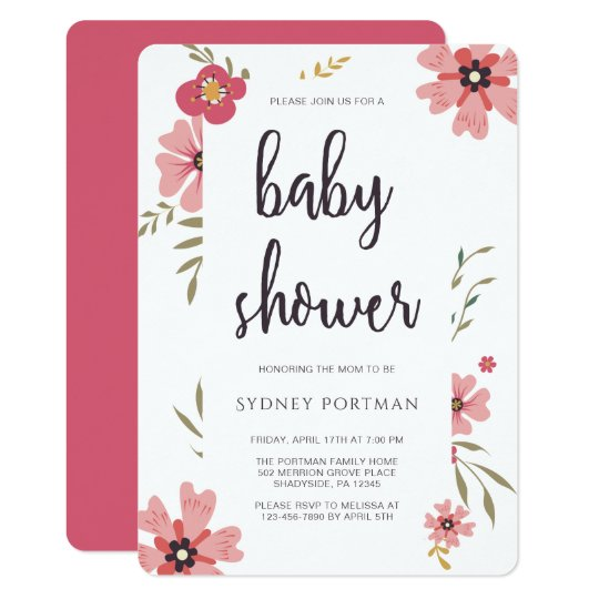 Baby Shower Modern Pretty Floral Card