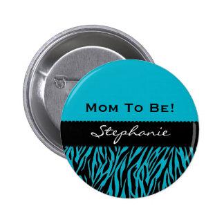 Baby Shower Modern Zebra Print Custom Color V01 6 Cm Round Badge