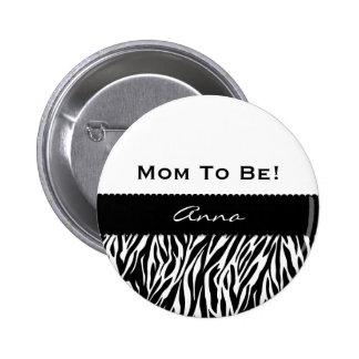Baby Shower Modern Zebra Print Custom V04 6 Cm Round Badge