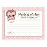 Baby Shower Mom Advice Card Pink Sleepy Owl Postcards