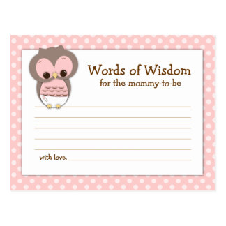 Baby Shower Mom Advice Card Pink Sleepy Owl Postcard