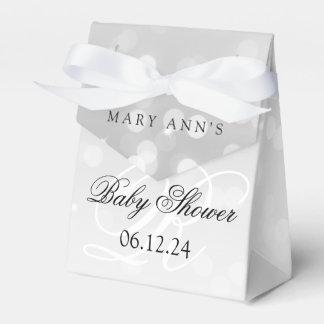 Baby Shower Monogram Silver Bokeh Sparkle Lights Wedding Favour Box