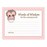Baby Shower Mum Advice Card Pink Sleepy Owl