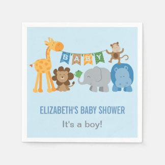Baby Shower Napkins | Jungle Animals Paper Serviettes