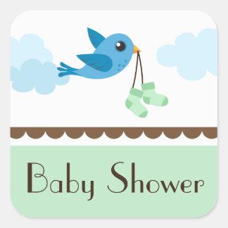 Baby shower neutral green blue bird stickers/seals