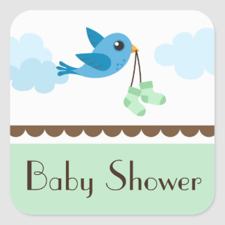 Baby shower neutral green blue bird stickers/seals square sticker