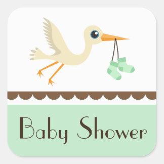 Baby shower neutral green stork stickers/seals square sticker