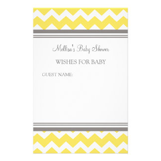 Baby Shower Note for Baby Yellow Chevron Personalised Stationery