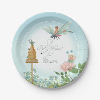 Baby Shower Party Decor Girl Fairy Garden Bees Art 7 Inch Paper Plate