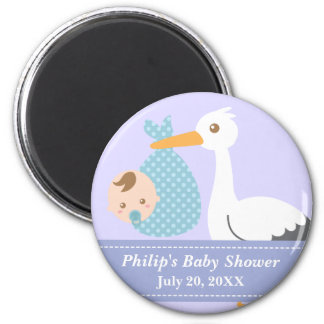 Baby Shower Party Favor - Stork Delivers Baby Boy 6 Cm Round Magnet