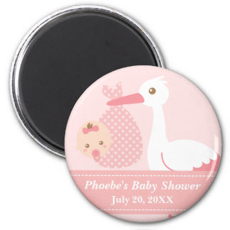 Baby Shower Party Favor - Stork Delivers Baby Girl 6 Cm Round Magnet