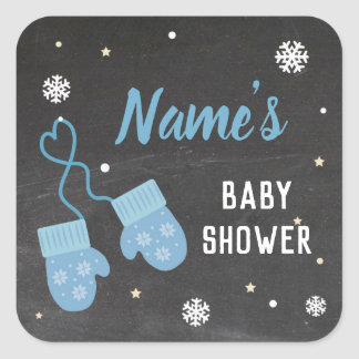 Baby Shower Party Stickers Mittens Blue Cold