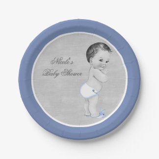 Baby Shower Pastel Blue Vintage Little Boy Paper Plate