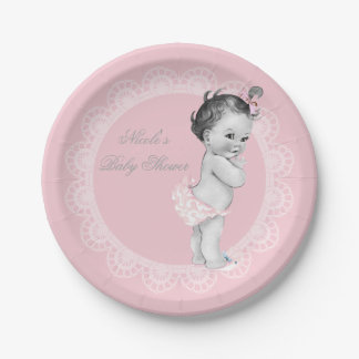 Baby Shower Pastel Pink Rustic Vintage Little Girl Paper Plate