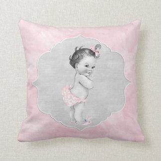 Baby Shower Pastel Pink Vintage Little Girl Cushion