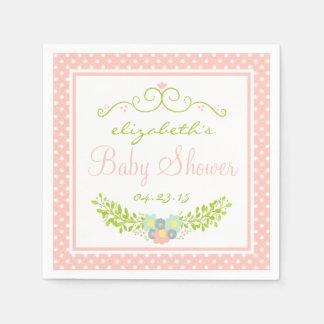 Baby Shower Peach Floral Paper Napkin