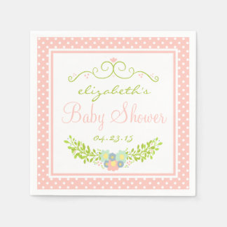 Baby Shower Peach Floral Paper Serviettes