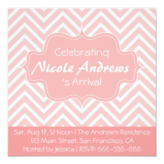 """Baby Shower: Pink and White Chevron Pattern 5.25"""" Square Invitation Card"""