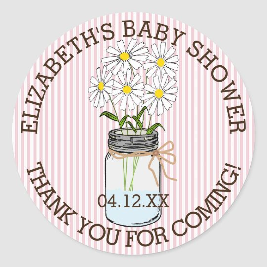 Baby Shower Pink and White Stripes Mason Jar