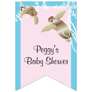 Baby Shower Pink/Baby Turtle, Swallowtail Banner