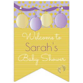 """Baby Shower Pink """"Baby's Feet,"""" Swallowtail Banner"""